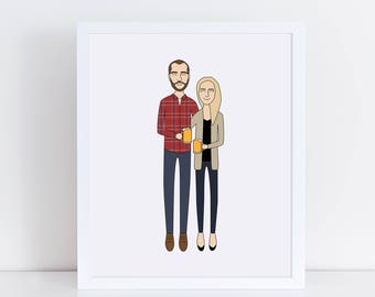 Custom Couple Portrait, Couple Illustration, Family Illustration, Personalized Portrait, Anniversary Gift for Husband or Wife, Wedding Gift