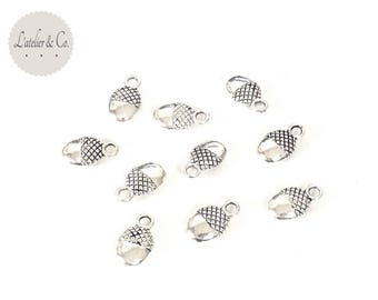 Acorn nut charms 12x7mm silver nature forest NOEL 18 20