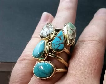Brass Adjustable Turquoise Rings