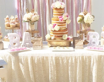Pink & Gold Baby Shower Table Garland Backdrop - Event Decor, Wedding