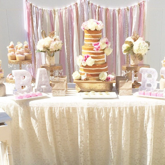 Pink Gold Baby Shower Table Garland Backdrop Event Decor