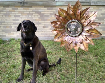 Fold Formed Copper Sunflower Garden Art