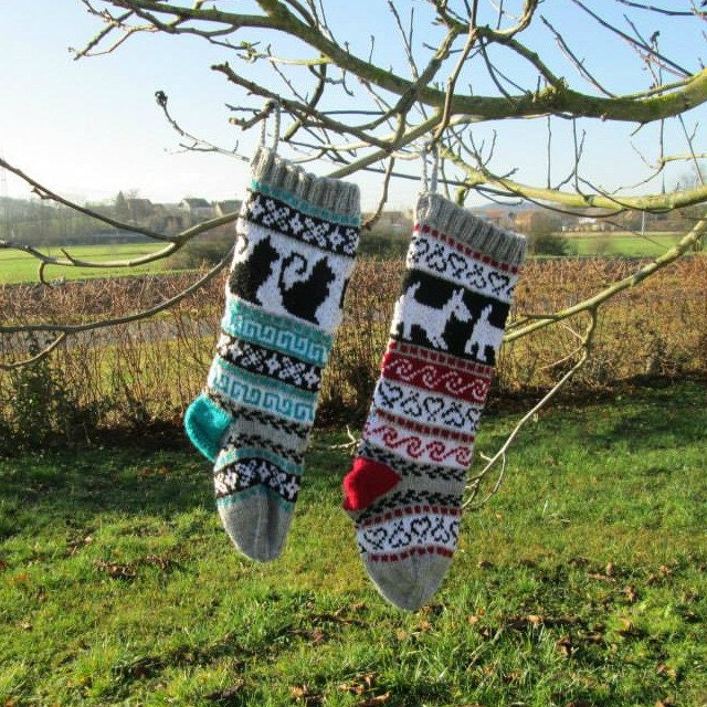 Pattern Fair Isle Christmas Stockings Cat and Dog fair isle