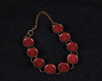 Hand Painted-one of a kind- Chain Bracelet-Antique Brass-Circle Bezel