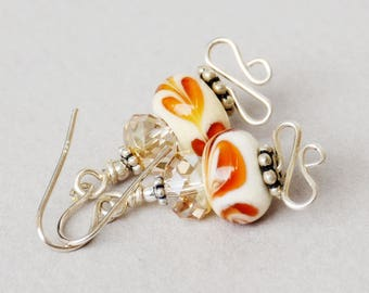 Caramel Latte Lampwork, Crystal and Sterling Earrings - Happy Shack Designs - Handmade Lampwork Earrings - Caramel and White