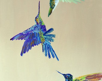 Three Colorful Humming Bird's Art Print, garden print, hummingbird painting, art print, giclee print