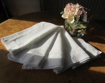 Five  (5) Vintage Linen Napkins - Quality Linen