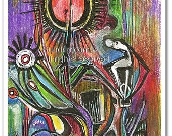 Art Original Surreal Affirmation Art Red Moon Blue Yellow Black Lupus Fibromyalgia