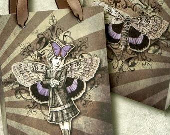 printable  Bag Moth Girl INSTANT DOWNLOAD digital collage sheet