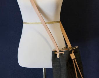 Selvedge Raw Denim Cinch Shoulder Bag with Natural Vegetable Tanned Leather Made in USA