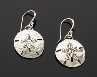 Handmade Sterling Silver Sand Dollar Earrings