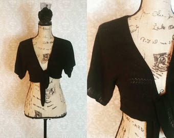 1980s Black Under Breast Shrug Sweater Vintage 1980s 1990s l Black Witchy Shrug Bolero Sweater l Hippie Hipster Mad Men MOD