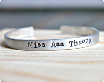 Misanthrope, adjustable bracelet, aluminum, bangle bracelet, anti valentines day, womens bracelet, funny jewelry, grumpy, snarky