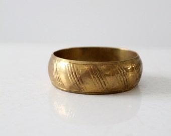 vintage chunky bangle, boho gold slip on bracelet