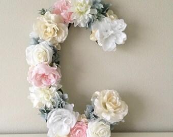 """Shabby Chic Floral Letter, 15"""" 19"""" 24"""", Flower Letter, Wood Letter, Wedding Letter, Letter Decor, Garden Theme Nursery, Garden Bridal Shower"""