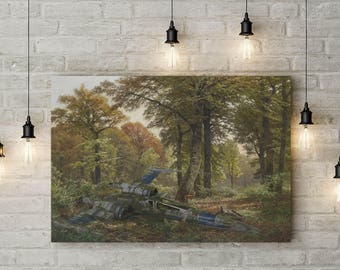 The Silent Rebel in the Forest, Star Wars Inspired Parody Piece, X-Wing Down,, Custom Raised Canvas Art Piece
