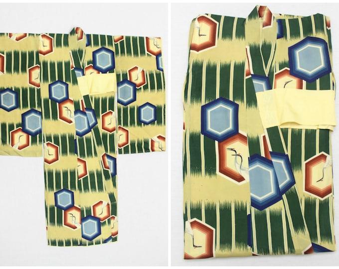 Vintage Japanese Kimono. Child's Children's Girl's Silk Furisode Kimono Robe. Green Blue Yellow Geometric Crane Design (Ref: 1146)