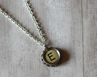 Personalized Initial Necklace, Typewriter Key Necklace, Initial E Necklace, Teacher Gift Idea