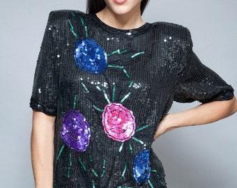 sequin top trophy vintage 80s black floral sequins party blouse M L MEDIUM LARGE
