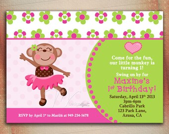 Monkey Girl Birthday Invitation, Girl Monkey Tutu Birthday Invitation, Personalized Girl Monkey Birthday Invitation - DIY