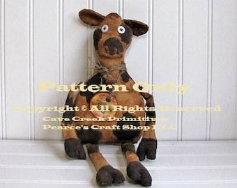 Primitive Cow Pattern, Holstein Cows, Cow Patterns, Primitive Animals, Animal Patterns, Primitive Dolls, Doll Patterns, Country Farmhouse