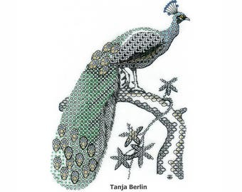 Hand Embroidery Kit - Blackwork Peacock Hand Embroidery Kit - Counted Thread Embroidery