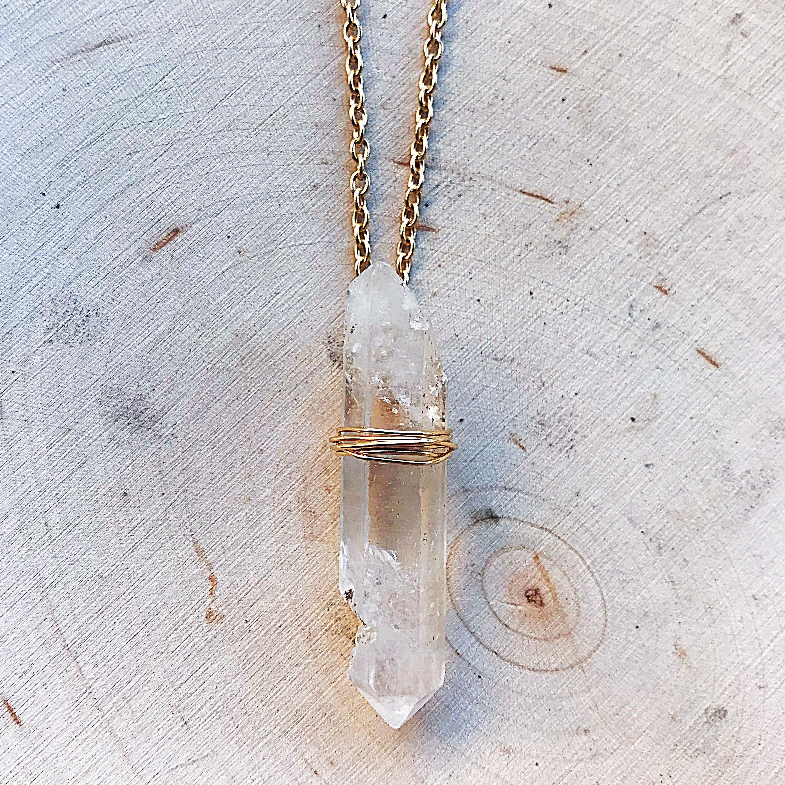 pendant point clear raw natural quartz jewelry pin crystal necklace