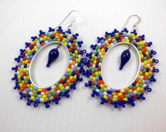 Handmade lampwork earrings, Hoop earrings, ooak lampwork earrings, beaded hoop earrings, headpin earrings, beaded earrings