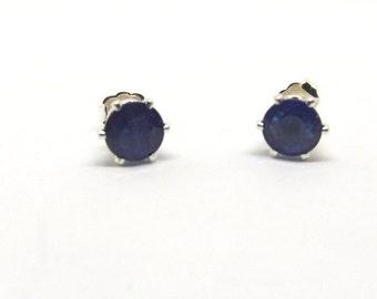 7 mm Natural Blue Sapphire Stud Earrings