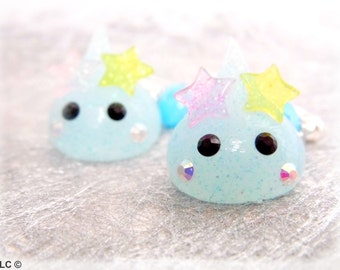 Kawaii glitter earrings drops blue
