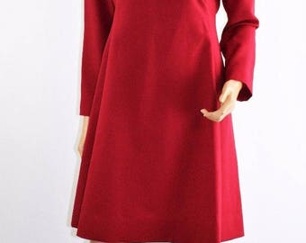 Vintage 60s Red Empire Waist Polyester Cocktail Dress Rhinestone Collar Size M/L