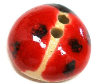 "Ceramic LADYBUG Button, Handmade insect button, 3/4""."