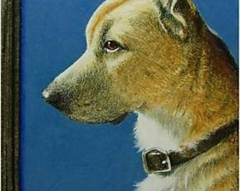 Shepherd Mix Dog Art by Melody Lea Lamb ACEO Mini