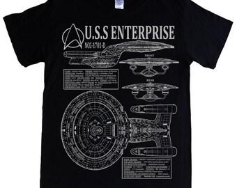 STAR TREK - The Next Generation Enterprise - S - 5XL T-shirt - NCC-1701-D Captain Picard, blueprints, schematics spec & stats