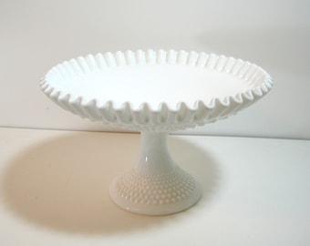 Hobnail Milkglass Pedestal Bowl With Ruffled Edge