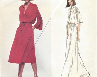 70s Renata Womens Romantic Dress Kimono Sleeves Knee or Maxi Length Vogue Sewing Pattern 1860 by Size 14 Bust 36 FF Vintage French Boutique