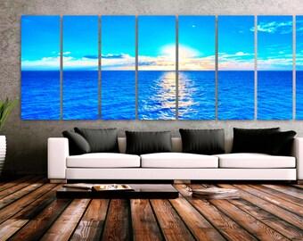 "XXLARGE 30""x 96"" 8 Panels Art Canvas Print Beach Blue Turquoise Sunset Wall Home office lobby Decor interior (Included framed 1.5"" depth)"