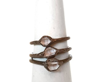 Herkimer Diamond Ring - Electroformed Ring - - Quartz Ring - Herkimer Jewelry - Copper Jewelry - Herkimer Diamond - Handmade Jewelry