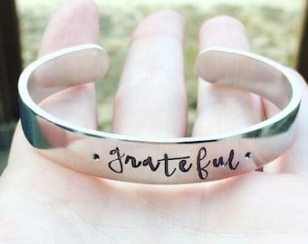 dankbar - Hand gestempelt Armband - personalisierte - benutzerdefinierte Armband - Silber Armreif