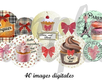 Digital collage sheet circles Cupcake french macaron, 1 inch circle images for pendant, digital bottle cap,digital rounds instant download