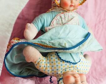 Knickerbocker Topsy Turvy Doll Cloth VTG Toy Retro Toy Smiley Face - Frowny Face
