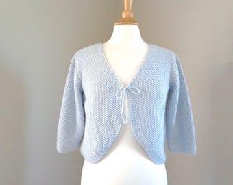 Pale Blue Bolero Shrug, Hand Knit Cotton Silk, Cropped Sweater, 3/4 Sleeves, Tie Fronts, V Neck, Women Teen Girls