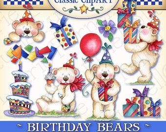 Birthday Bears Digital Art, Laurie Furnell, Birthday clipart,Birthday clip art,Birthday bear clipart,papercrafts,birthday candy bar wrapper