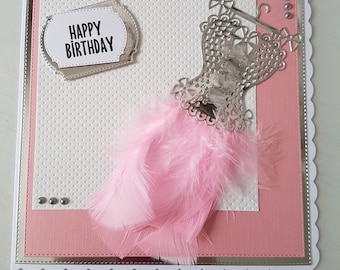 Happy birthday - basque and feathers - Pink