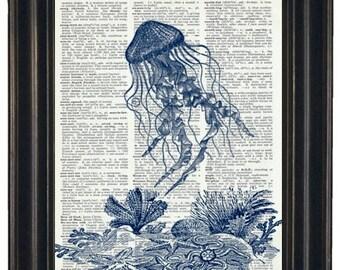 Sea Life Art Print Ocean Art Print Dictionary Art Print Jelly Fish Print Upcycled Wall Art A HHP Original Design 8 x 10 Blue