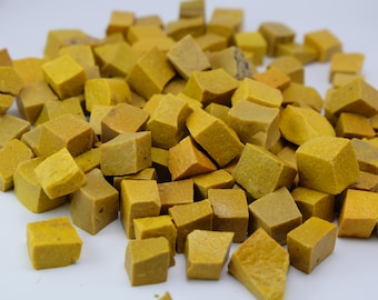 Yellow Hand-Cut Mosaic Smalti - 1/2 pound - 100+ tesserae pieces - 10 mm x 10 mm
