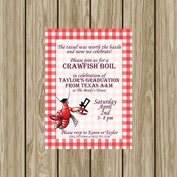 Graduation Party Crawfish Boil Invitation