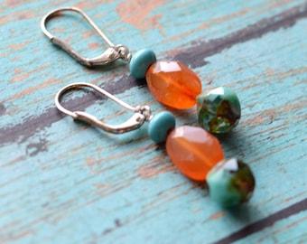 Carnelian Earrings, Gemstone Earrings, Orange Earrings, Orange and Turquoise Southwestern Jewelry, Czech Glass and Silver Earrings, SRAJD