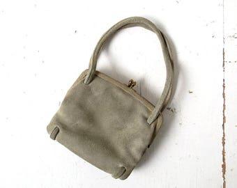 Vintage 50s Purse | Gray Suede Bag | Small Handbag