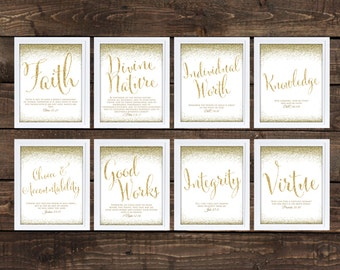 Young Women Values Printables, Faux Glitter Font 8x10 Each, LDS Downloadable Young Women, Glitter Style Printable